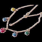 Enameled Ladybug Charm Necklace 18K Gold
