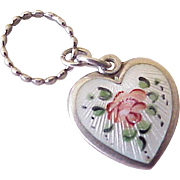 Walter Lampl Puffy Heart Charm Guilloche Enamel Rose Sterling Silver