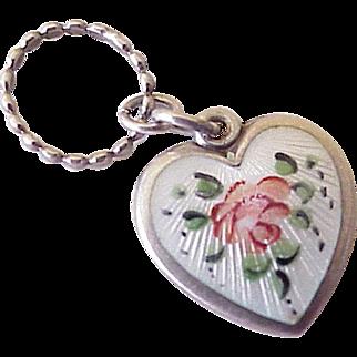 Walter Lampl Puffy Heart Charm Guilloche Enamel Rose Sterling Silver