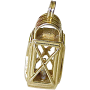 Big Vintage Lantern Charm 14k Gold Three Dimensional circa 1950-60's