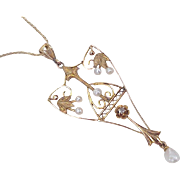 Victorian Lavaliere Necklace Seed Pearl & Diamond 10K / 14K Gold