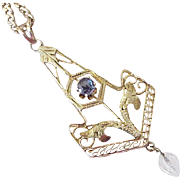 Edwardian Lavaliere Pendant / Necklace 14K Gold Faux Sapphire & Crystal