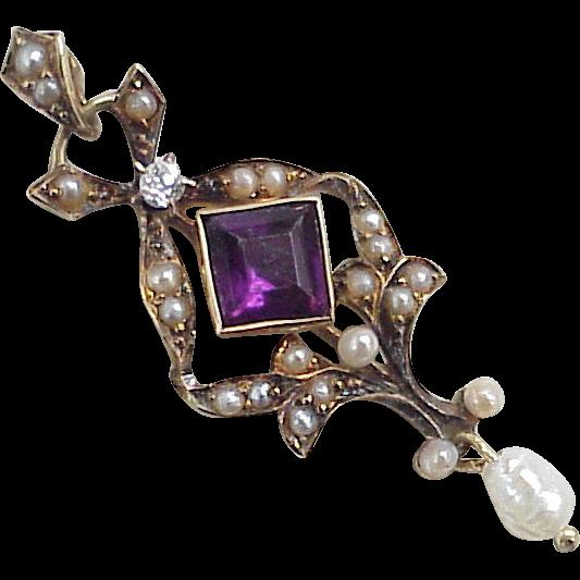 Victorian Lavaliere Pendant 14k Gold Diamond Amethyst