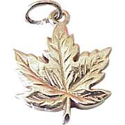 Vintage Maple Leaf Charm 10k Gold, Three Dimensional