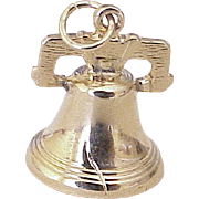 Vintage Moving Liberty Bell Charm 14k Gold Three Dimensional