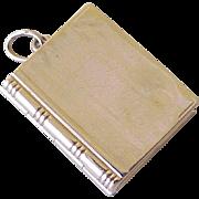 Vintage Book Locket Charm 14K Gold Circa 1950's