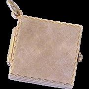 Large 14k Gold Book Style Locket Charm / Pendant 4 Photo, circa 1950's