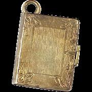 Victorian Book Style Locket Charm / Pendant 10k Gold