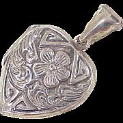 Vintage Heart Locket Pendant Forget Me Not Floral Sterling Silver