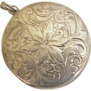 Edwardian Era Locket Pendant Hand Engraved Design 10K Gold