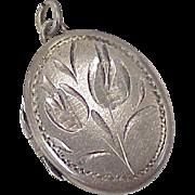 Vintage Oval Locket Pendant Engraved Tulip Design Sterling Silver