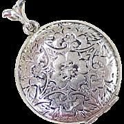 Vintage Round Locket Pendant Hand Engraved Details Sterling Silver