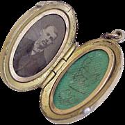 Victorian Era Locket Pendant Unique Applied Design Tri-Color
