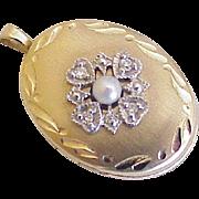 Estate Locket Pendant 14K Gold Cultured Pearl & Diamond Accent