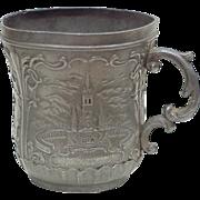 Antique Art Nouveau Pewter Cup, Travel Souvenir Notre-Dame De Lourdes France