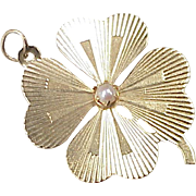 BIG Vintage Lucky CLOVER Charm 14K Gold,  Cultured Pearl circa 1960's