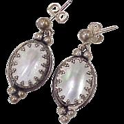 Mabe' Pearl Dangle Earrings Sterling Silver