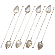 Mint Julep or Iced Tea Sipper Straw / Spoons Sterling Silver by Gorham Set of 8