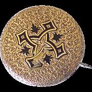 Victorian Era Watch or Locket Pin 14K Gold Taille d' Epergne Enamel
