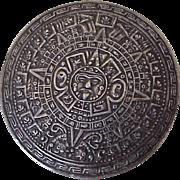 Big Mayan Calendar Pendant/Brooch Sterling Silver, Mexico circa 1960's