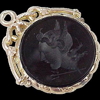 Victorian Fob Charm Intaglio MERCURY, Greek God, 10K Rose Gold