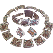 Vintage Mexico Zodiac Parure Sterling Silver & Copper With Stone Chip Inlay circa 1950's