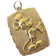 Walt Disney Productions MICKEY MOUSE Pendant / Charm 14k Gold 1960-70's