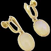 Vintage Moonstone Dangle Earrings 14k Gold Screw Back circa 1950's