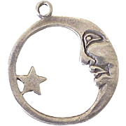 Celestial Charm Moon & Star Sterling Silver circa 1970's