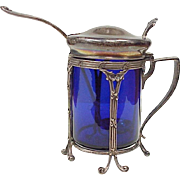 Antique Sterling Silver & Cobalt Glass Mustard Server / Jar by Durgin