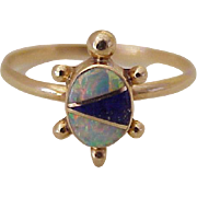 Native American Handcrafted Turtle Ring 14K Gold Opal & Lapis Lazuli