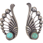 Native American Vintage Screw-Back Earrings Sterling Silver & Turquoise