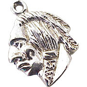 Native American Indian Brave Charm Sterling Silver circa 1960's