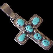 Navajo Large Pendant Cross Sterling Silver & Turquoise, Bo Reeder