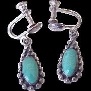 Vintage Native American Screw Back Earrings Sterling Silver & Turquoise