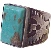 Native American Eagle Ring Sterling Silver & Turquoise circa 1970's