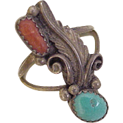 Vintage Native American Crafted Ring Sterling Turquoise & Red Coral