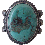 Vintage Native American Crafted Ring  Turquoise & Sterling Silver