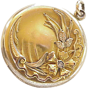 Victorian Gold-Filled Locket with Childs Photo & Lock of Hair