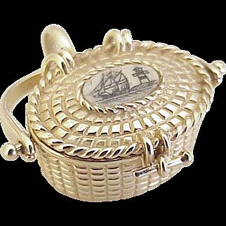BIG Vintage Moving Nantucket Lightship Basket Charm 14K Gold circa 1970's