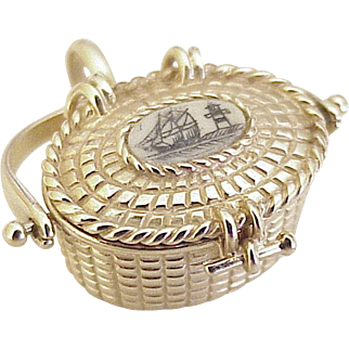 BIG Vintage Moving Nantucket Lightship Basket Charm 14K Gold circa 1970's