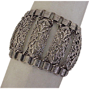 Art Deco Napier Book-Link & Filigree Panel Bracelet Sterling Silver c.1920's