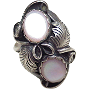 Navajo Crafted Ring Sterling Silver & Pink Mother of Pearl, Birdie Desiderin