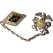 US Navy Vintage Pin Set circa 1940's Sterling Silver / Gold Filled & Seed Pearl