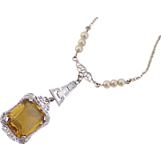 Victorian Revival Lavaliere Necklace Citrine & Seed Pearl 10K White Gold