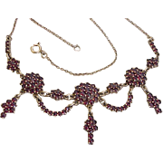 Victorian Revival Bohemian Garnet Festoon Necklace 900 Silver Gold Wash CZECH