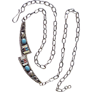 Vintage Native American Necklace Turquoise & Intarsia Inlay Sterling Silver circa 1970's