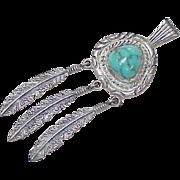 Vintage Navajo James Nez Pendant Sterling Silver & Turquoise circa 1970's