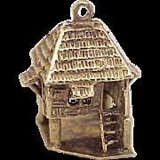 Vintage Nipa Hut Charm 14k Gold Three Dimensional Circa 1950's