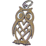 Wise Owl Vintage Charm Sterling Silver circa 1960's